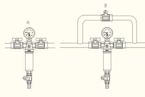 Фильтр промывной самоочищающийся с манометром - установка
