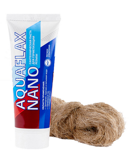 Сантехническая паста для герметизации резьбы Aquaflax nano 30 гр + лен 15 гр