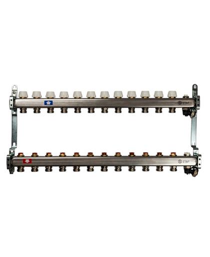Купить коллектор 1″х3/4″x12 без расходомеров с клапаном выпуска воздуха и сливом на 11 выходов из нержавеющей стали в магазине pprcshop.ru