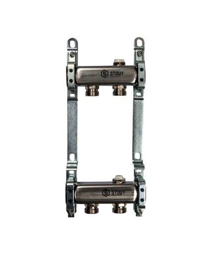Купить коллектор 1″х3/4″x2 для радиаторной разводки на 2 выхода из нержавеющей стали в магазине pprcshop.ru по отличной цене