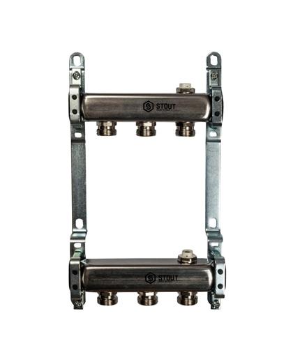 Купить коллектор 1″х3/4″x3 для радиаторной разводки на 3 выхода из нержавеющей стали в магазине pprcshop.ru по отличной цене