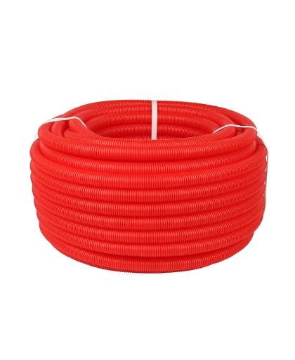 Купить труба гофрированная ПНД 25 красная (для труб диаметром 16 мм. бухта 50 м) можно в интернет магазине pprcshop.ru по отличной цене