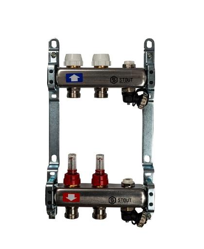Купить коллектор 1″х3/4″x2 с расходомерами, с клапаном и сливом на 2 выхода из нержавеющей стали в магазине pprcshop.ru по отличной цене