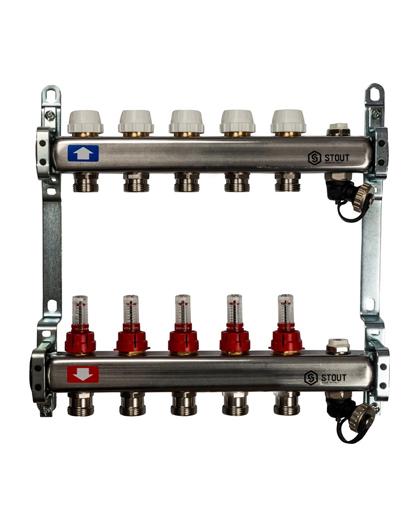 Купить коллектор 1″х3/4″x5 с расходомерами, с клапаном и сливом на 5 выходов из нержавеющей стали в магазине pprcshop.ru по отличной цене