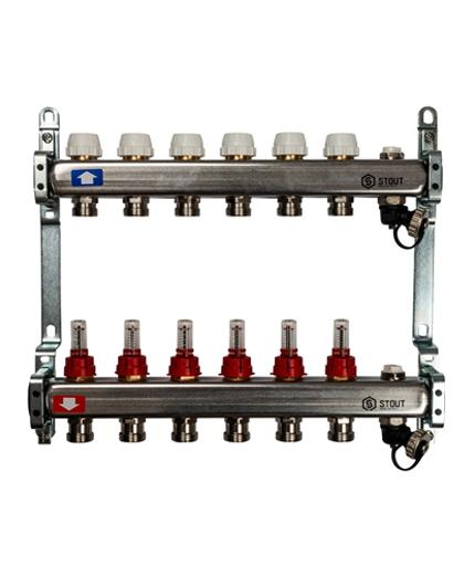 Купить коллектор 1″х3/4″x6 с расходомерами, с клапаном и сливом на 6 выходов из нержавеющей стали в магазине pprcshop.ru по отличной цене