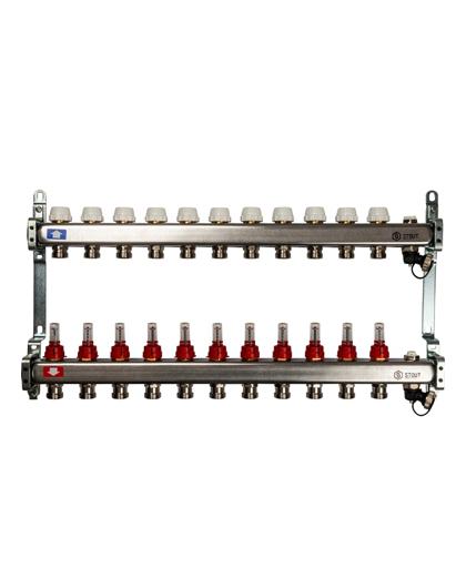 Купить коллектор 1″х3/4″x11 с расходомерами, с клапаном и сливом на 11 выходов из нержавеющей стали в магазине pprcshop.ru по отличной цене